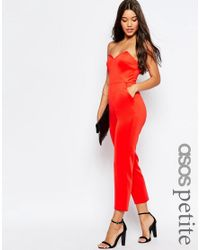ASOS - Black Jersey Jumpsuit With Angular Bandeau - Lyst