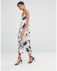 ASOS - Blue Satin Jumpsuit In Oversized Floral - Lyst