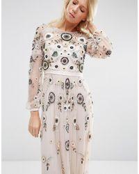 Needle & Thread - Tiered Woodland Lace Maxi Dress - Petal Pink - Lyst