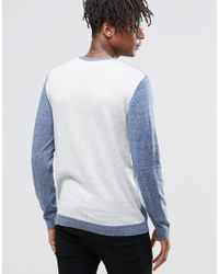 ASOS - Blue Cotton Jumper With Contrast Back for Men - Lyst