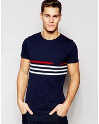 Tommy Hilfiger - Blue T-shirt With Chest Stripe Navy for Men - Lyst
