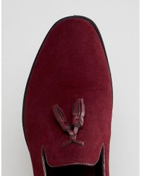 ASOS - Red Wide Fit Loafers In Burgundy Faux Suede for Men - Lyst