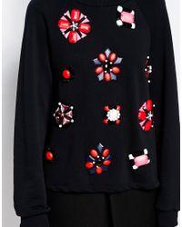 Sportmax Code - Portmax Code Embellished Sweatshirt In Black - Lyst