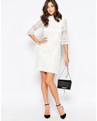 Warehouse - Natural High Neck Flute Sleeve Dress - Lyst