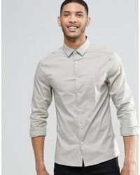 ASOS | Gray Skinny Shirt With Long Sleeves In Stone for Men | Lyst