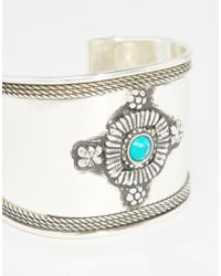 ASOS - Green Decorated Stone Cuff Bracelet - Lyst
