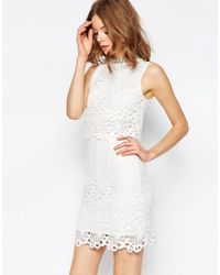 ASOS | White Lace Cut Work High Neck Embellished Mini Dress | Lyst