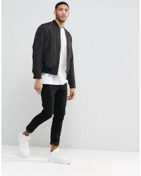 ASOS - Bomber Jacket In Black With Zip for Men - Lyst