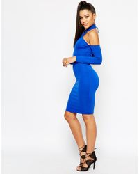 Naanaa - Blue Midi Dress With Cut In Shoulder And Lace Up Back - Lyst