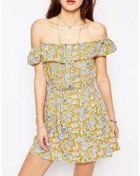 ASOS - Multicolor Bardot Floral Button Front Beach Dress - Lyst