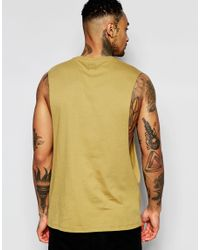ASOS - Natural Sleeveless T-shirt With Extreme Dropped Armhole In Khaki for Men - Lyst