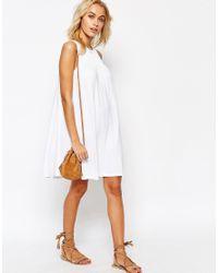 ASOS | Metallic Sleeveless Swing Dress With Ruching Detail | Lyst