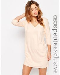 ASOS - Black Petite Shift Dress With V Neck - Lyst