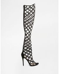Public Desire - Black Caged Over The Knee Heeled Sandals - Lyst