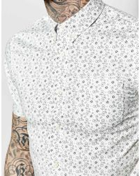 Pretty Green - Shirt With All Over Paisley Print In White for Men - Lyst