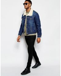 Love Moschino - Blue Denim Jacket Shearling Collar for Men - Lyst