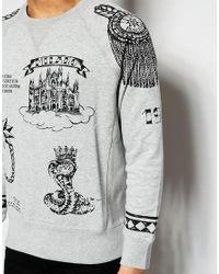 Love Moschino - Gray Sweater Tattoo Print for Men - Lyst