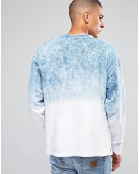 ASOS - Oversized Crew With Tie Dye & Text Print - Blue for Men - Lyst