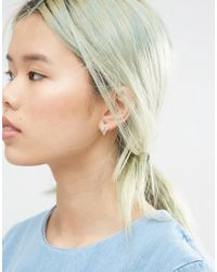 ASOS - Metallic Gold Plated Sterling Silver Triangle Cut Out Earring - Lyst
