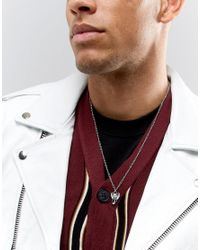 ASOS - Metallic Necklace In Burnished Silver With Ditsy Elephant Pendant for Men - Lyst