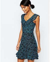 ASOS | Blue Skater Dress In Coated Lace | Lyst