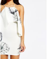 ASOS - Black Mono Print Ruffle Scuba Mini Dress - Lyst
