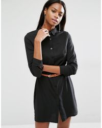 c8ce014872 Missguided Long Sleeve Belted Mini Shirt Dress in Black - Lyst