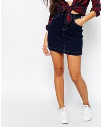 Missguided - Blue Denim Contrast Stitch Mini Skirt - Lyst