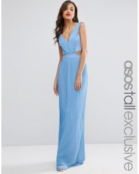 ASOS | Blue Pleated Maxi Dress With Cut Out Side | Lyst