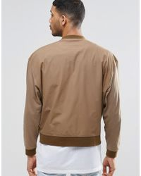 ASOS | Brown Oversized Lightweight Jersey Bomber Jacket With Woven Panel for Men | Lyst