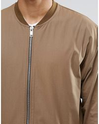 ASOS - Brown Oversized Lightweight Jersey Bomber Jacket With Woven Panel for Men - Lyst