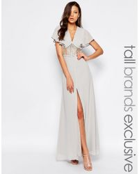 Jarlo - Gray Maxi Dress With Fluted Sleeves And Lace Insert Waist - Lyst