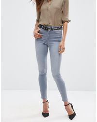 ASOS - Blue Ridley Skinny Jeans In Steel Gray - Lyst