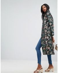 ASOS - Multicolor Premium Slim Coat In Jacquard - Lyst