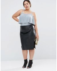 Club L - Gray Plus Body With Frill Detail - Lyst
