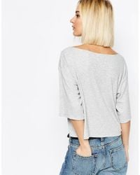 Weekday - Gray Deep V -neck Top - Lyst