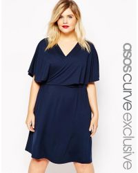 ASOS - Blue Mini Skater Dress With Wrap Cape - Lyst