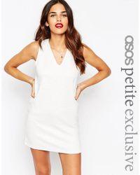 ASOS | White Petite Shift Dress In Jumbo Rib With V-neck | Lyst
