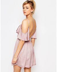Oh My Love - Orange H My Love Cold Shoulder Frill Mini Dress - Lyst