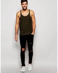 ASOS - Black Knitted Vest In Khaki for Men - Lyst