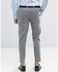ASOS | Gray Super Skinny Crop Smart Trousers In Grey for Men | Lyst