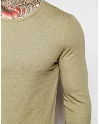 ASOS - Rib Extreme Muscle Long Sleeve T-shirt In Green for Men - Lyst