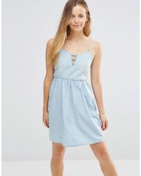 5f92ea006a47 Lyst - Only Denim Skater Dress With Tie Up Front in Blue