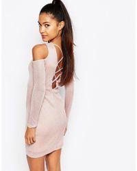 Lipsy - Natural Ariana Grande For Cold Shoulder Deep Plunge Mini Dress - Lyst