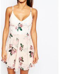 Lipsy - White Riana Grande For Rose Print Strappy Tea Dress - Lyst