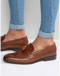 ASOS | Brown Brogue Loafers In Tan Leather With Tassel for Men | Lyst