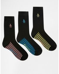 Original Penguin - 3 Pack Black Socks With Contrast Footbed In Stripe Print - Lyst