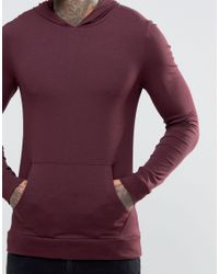 ASOS - Metallic Muscle Hoodie In Lightweight Jersey In Oxblood for Men - Lyst
