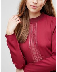 First & I - Red Lace Panel Peplum Top - Lyst