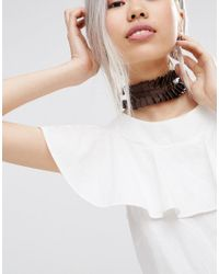 ASOS - Brown Wide Ruffle Choker Necklace - Lyst